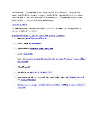 AutoZon Builder Review-(GIANT) bonus & discount
