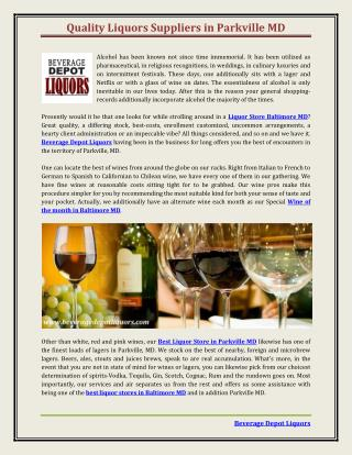 Quality Liquors Suppliers in Parkville MD