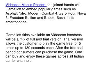 Videocon Smartphones to Feature Popular Games from Gameloft