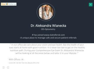 Dr Aleksandra Wianecka, OD, Optometry joined www.statreferral.co