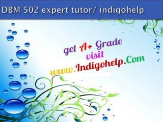 DBM 502 expert tutor/ indigohelp