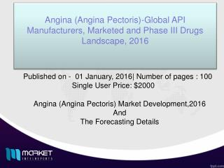 Forecasting details of Angina(Angina Pectoris) drugs Market,2016