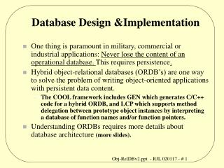 Database Design Implementation