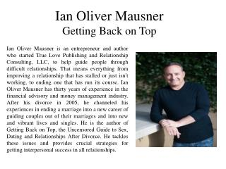 Ian Oliver Mausner Getting Back on Top