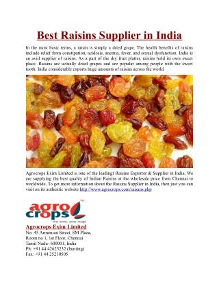 Best Raisins Supplier in India