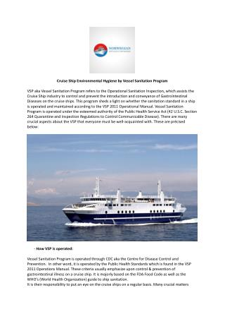 Cruise Ship Environmental Hygiene by Vessel Sanitation Program