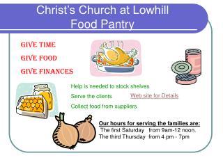 Christ s Church at Lowhill Food Pantry