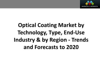 Optical Coating Market worth 10.17 Billion USD by 2020