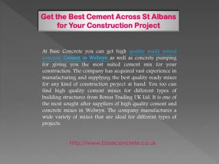 Get the Best Cement Across St Albans for Your Construction Project