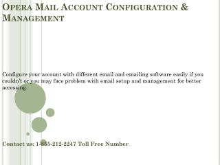 1-855-212-2247 Opera Mail Account configuration & Management
