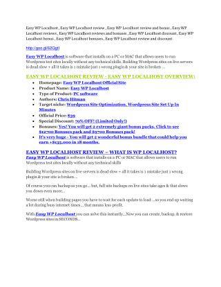 Easy WP Localhost Review-$32,400 bonus & discount