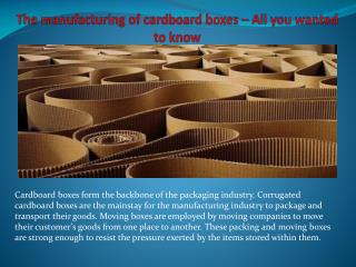 The manufacturing of cardboard boxes � All you wanted to know