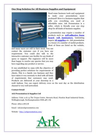 One Stop Solution for All Business Supplies and Equipment
