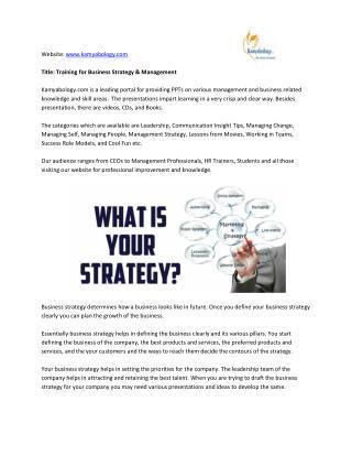 Kamyabology.com Provides Management Training& Human Resource Strategy PPT
