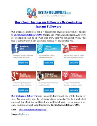 Buy Cheap Instagram Followers By Contacting Instant Followers