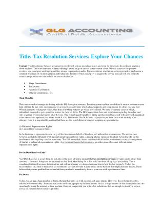 GLG Accounting | Professional Tax Resolution Services Company