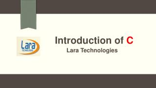 Introduction of C Language at Lara Technologies
