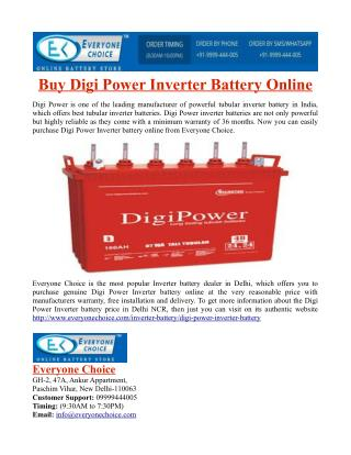Buy Digi Power Inverter Battery Online
