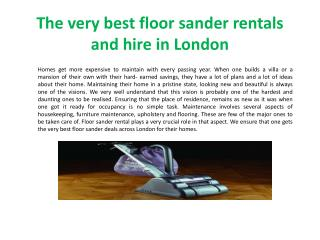 The very best floor sander rentals and hire in London