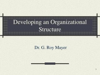 Developing an Organizational Structure