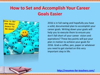 How to Set and Accomplish Your Career Goals