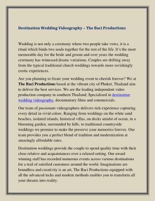 Destination Wedding Videography