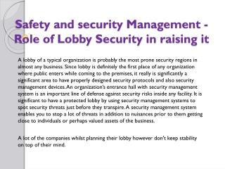 Safety and security Management - Role of Lobby Security in raising it