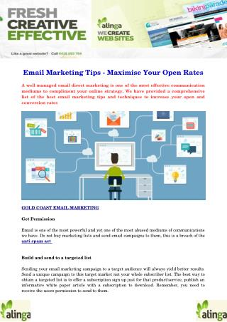Email Marketing Tips - Maximise Your Open Rates