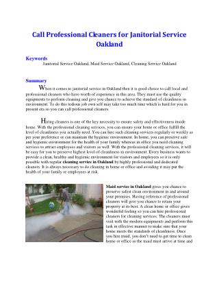 Call Professional Cleaners for Janitorial Service Oakland