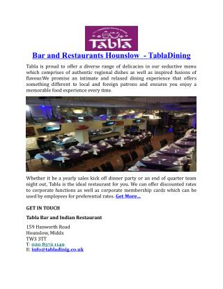 Bar and Restaurants Hounslow TablaDining