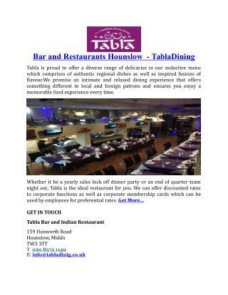 Bar and Restaurants Hounslow TablaDining
