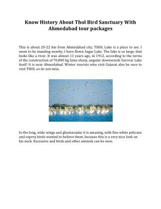 Know History About Thol Bird Sanctuary With Ahmedabad tour packages