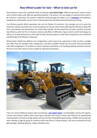 New wheel loader for sale – what to look out for
