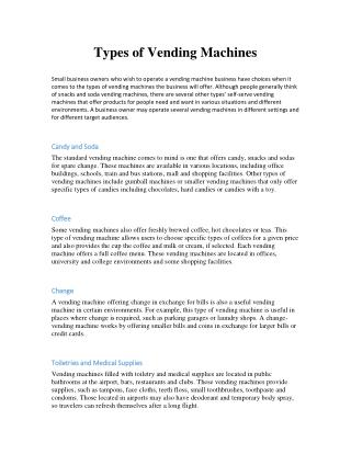 Types of Vending Machines