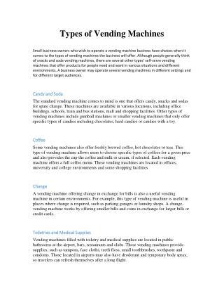 Types of Vending Machines