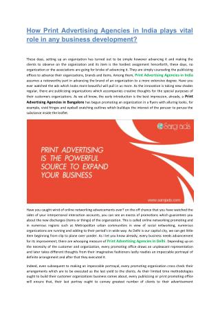 How Print Advertising Agencies in India plays vital role in any business development?
