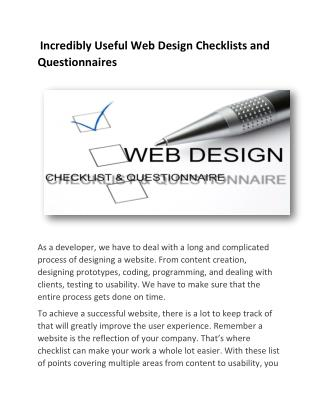 Incredibly Useful Web Design Checklists and Questionnaires