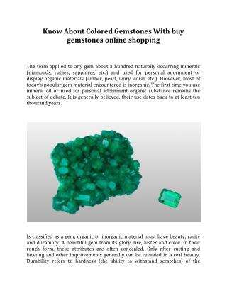 Know About Colored Gemstones With buy gemstones online shopping
