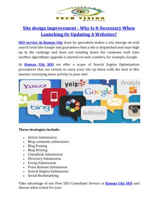 Site design improvement - Why Is It Necessary When Launching Or Updating A Websites?