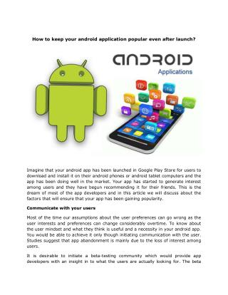 How to keep your android application popular even after launch?