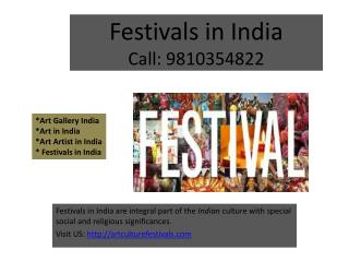Art Gallery India, Festivals in India, Art Artist in India