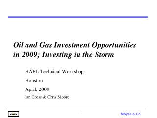 Oil and Gas Investment Opportunities in 2009; Investing in the Storm