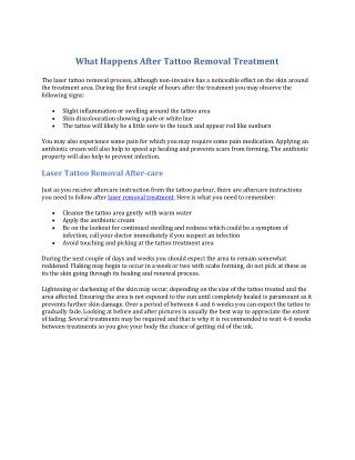What Happens After Tattoo Removal Treatment