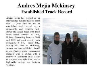 Andres Mejia Mckinsey Established Track Record