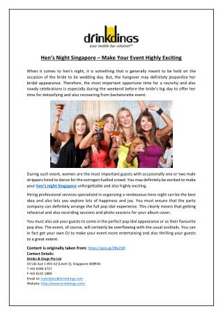 Hen's Night Singapore – Make Your Event Highly Exciting