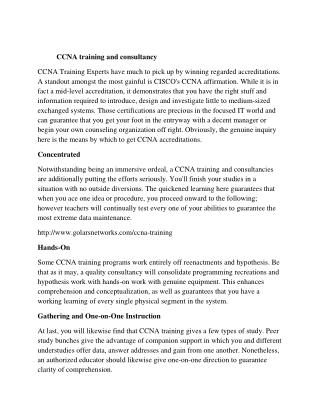 ccna training and placements