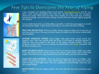 Few Tips to Overcome the Fear of Flying