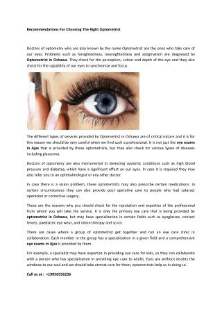 Recommendations For Choosing The Right Optometrist
