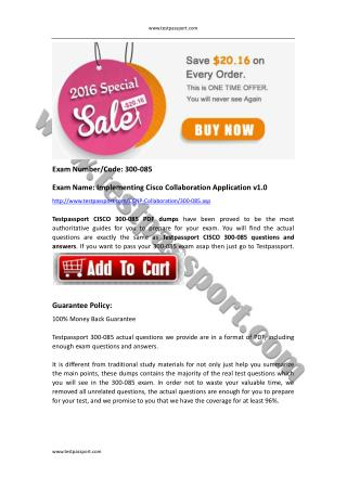 CCNP Collaboration 300-085 PDF dumps