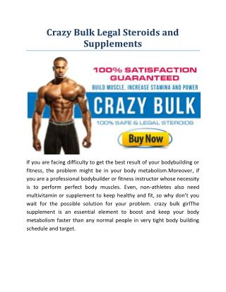 Crazy Bulk Legal Bodybuilding Supplements